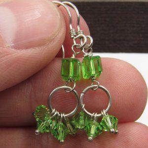 Sterling Dainty Green Crystal Dangle Earrings